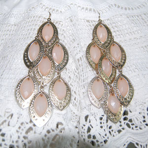 Boho Pink and Gold Earrings